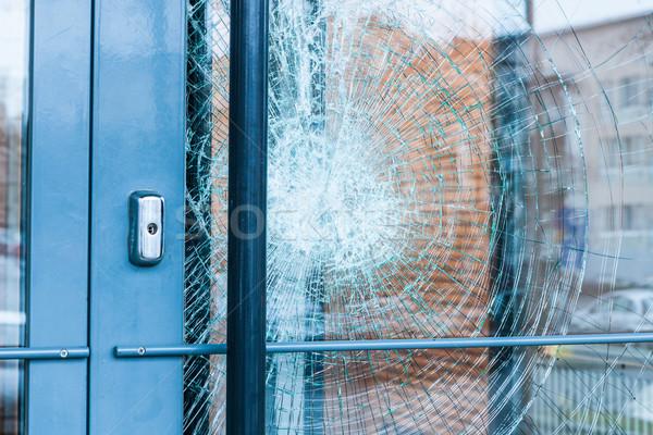 Foto stock: Cacos · de · vidro · porta · de · entrada · fora · casa · edifício · janela