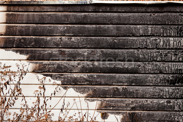 Burnt broken wood wall Stock photo © Juhku