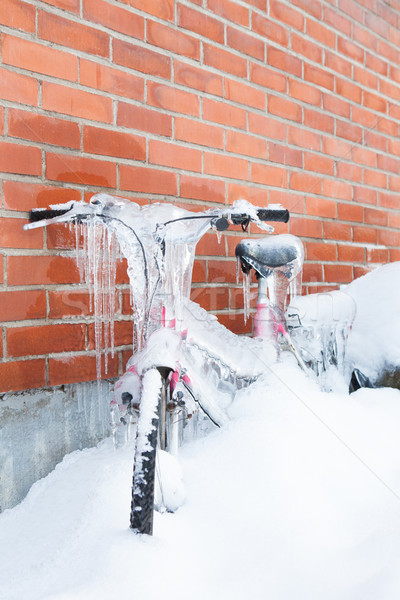Frozen bike covered in ice Stock photo © Juhku