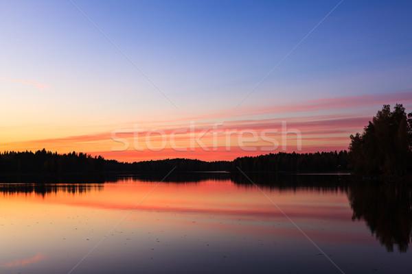 Sereno ver lago pôr do sol nuvens Foto stock © Juhku