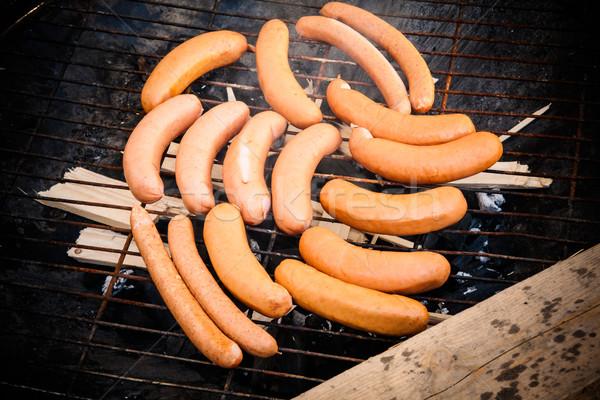 Kolbászok gettó grill buli egészség pihen Stock fotó © Juhku