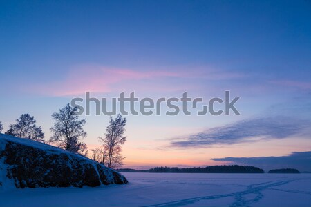 Serene sunset sky at winter Stock photo © Juhku