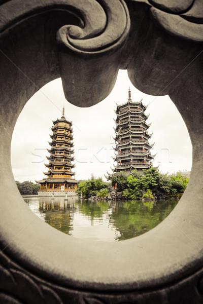 Double towers Guilin china Stock photo © Juhku