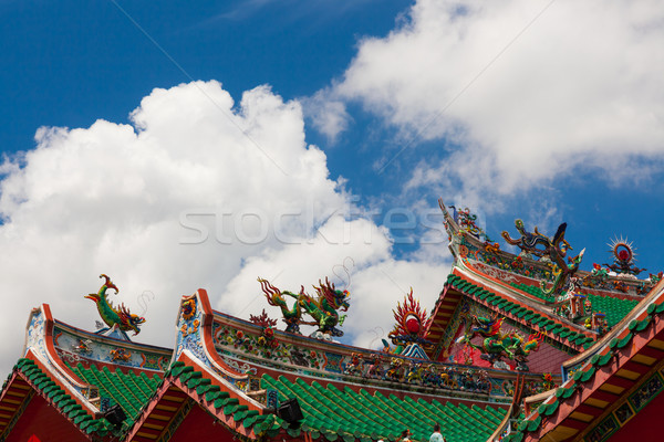chinese temple roofs and dramatic clouds Stock photo © Juhku