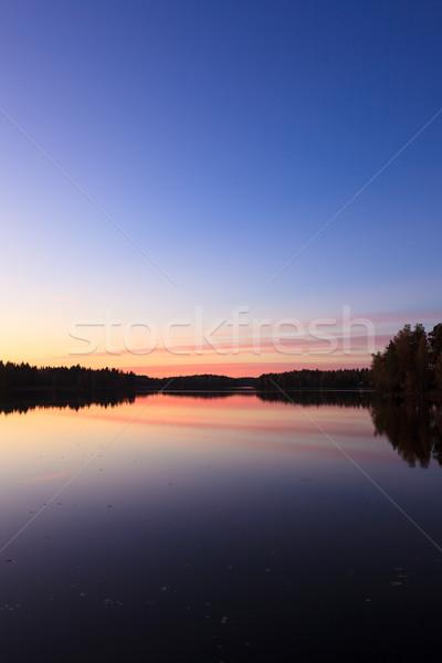 穏やかな 表示 湖 日没 雲 ストックフォト © Juhku