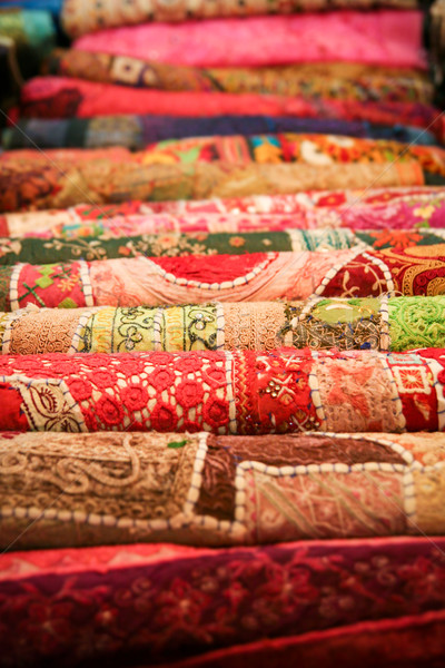 Gevouwen handgemaakt textiel Indië weefsel Stockfoto © Juhku