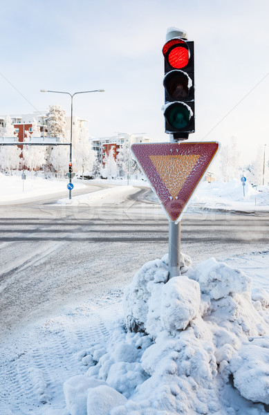 Kırmızı trafik ışığı kış şehir kar Metal Stok fotoğraf © Juhku