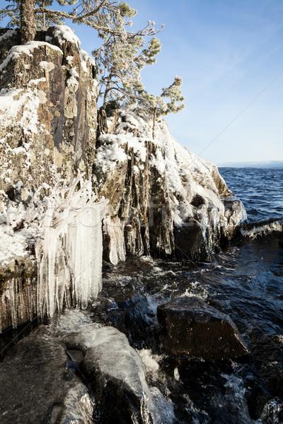 ストックフォト: 凍結 · 岩 · 崖 · 日の出 · 光 · 水