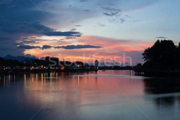 市 日没 マレーシア 水 雲 風景 ストックフォト © Juhku