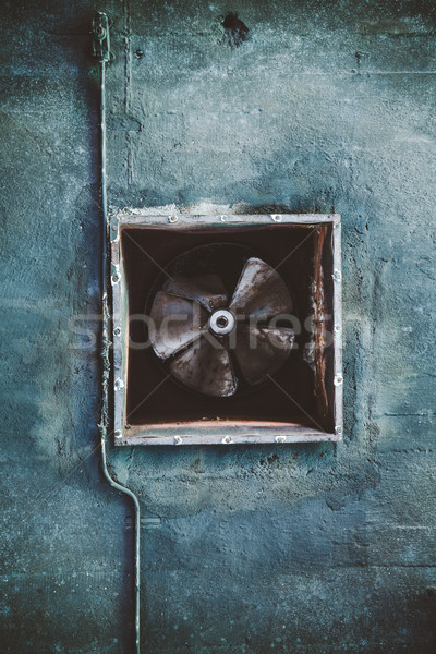 Abandoned air conditioning duct and rusted fan Stock photo © Juhku