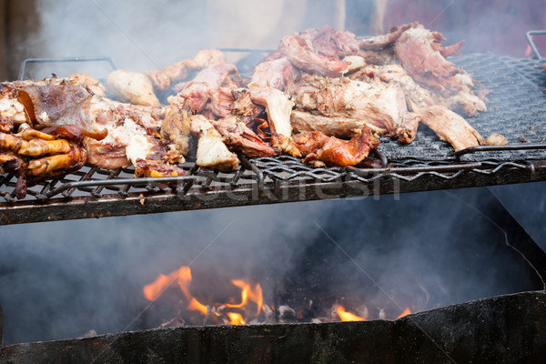 Disznóhús hús grillezett nyílt tűz kint étel Stock fotó © Juhku