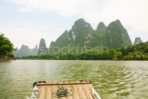 竹 ラフティング 川 中国 風景 山 ストックフォト © Juhku