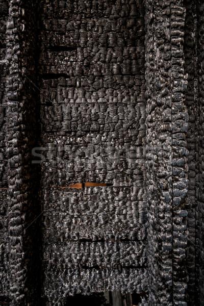 Brisé bois mur texture maison feu Photo stock © Juhku