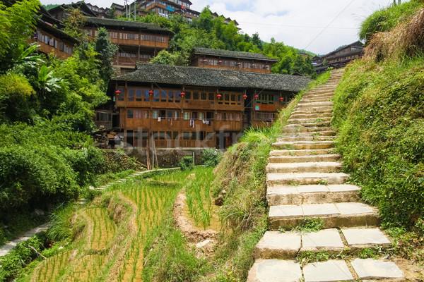 Stone steps in ping'an village at longsheng china Stock photo © Juhku