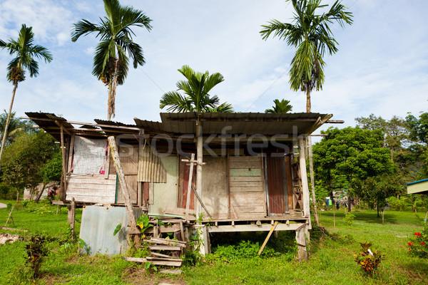 Small village building in borneo Malaysia Stock photo © Juhku