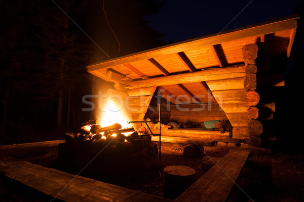 Lean-to campsite in forest Stock photo © Juhku