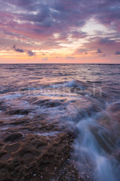 Uzun pozlama deniz kayalar tan deniz manzarası su Stok fotoğraf © Juhku