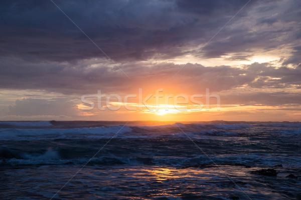 海 波 日没 光 グロー 曇った ストックフォト © Juhku