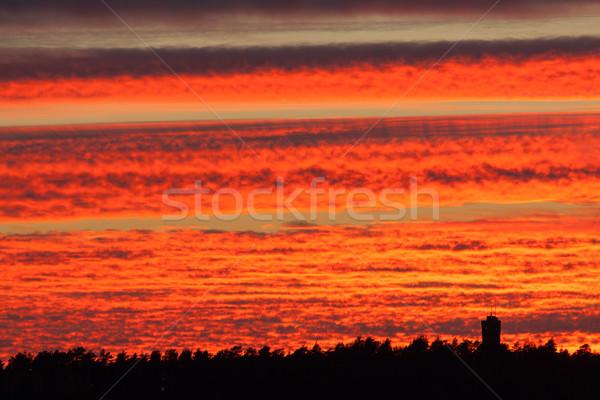 Ateşli kırmızı gün batımı bulutlar canlı gökyüzü Stok fotoğraf © Juhku