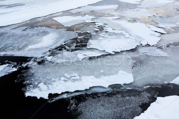Thin ice at lake Stock photo © Juhku