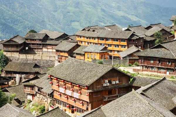 Chinese village rooftops Stock photo © Juhku
