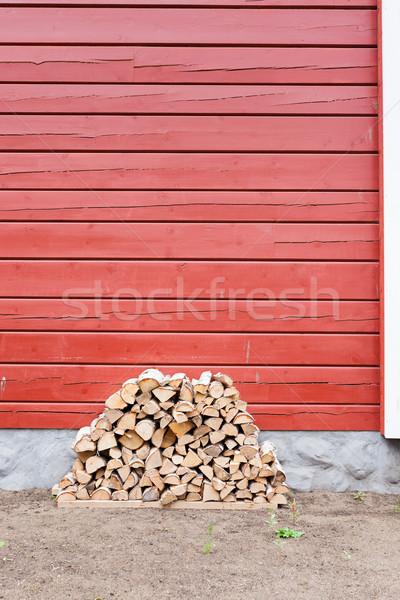 Tűzifa köteg kívül ház erdő fal Stock fotó © Juhku