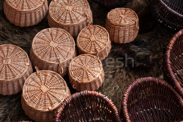Group of braided baskets Stock photo © Juhku