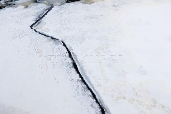 氷 亀裂 自然 クローズアップ 冬 抽象的な ストックフォト © Juhku