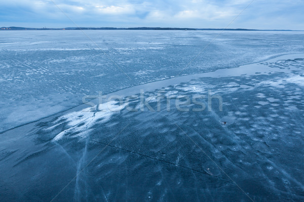 Ice melting in lake landscape Stock photo © Juhku