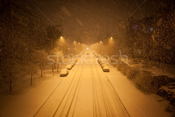 a lot of snowfall and empty road Stock photo © Juhku