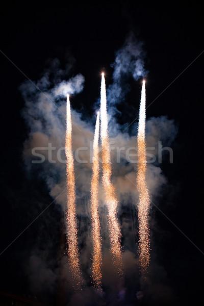 Fuochi d'artificio fumo notte fuoco abstract nero Foto d'archivio © Juhku