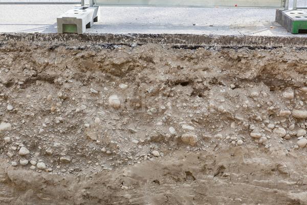 ストックフォト: 道路 · アスファルト · テクスチャ · 建設 · クロス
