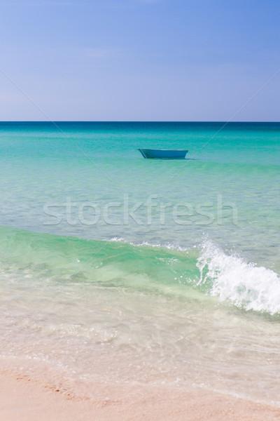 Foto stock: Pescador · barco · turquesa · agua · fondo