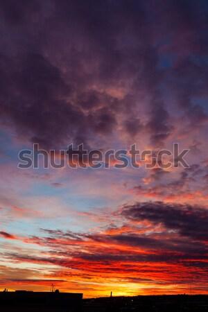 Hermosa colores puesta de sol nubes cielo sol Foto stock © Juhku