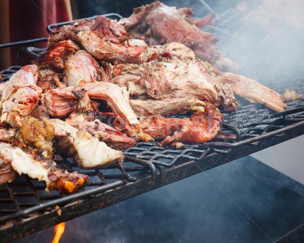 Carne di maiale carne alla griglia aprire il fuoco esterna alimentare Foto d'archivio © Juhku