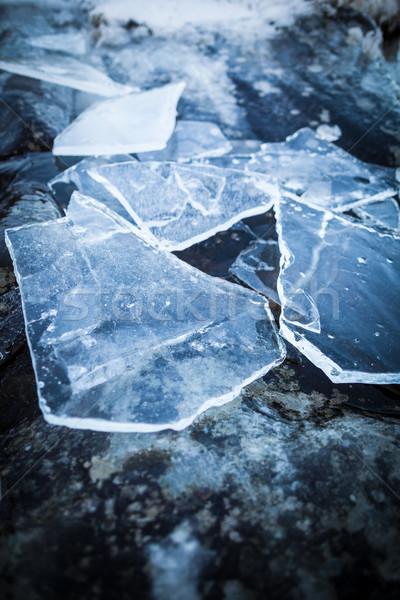Pieces of ice on rock Stock photo © Juhku