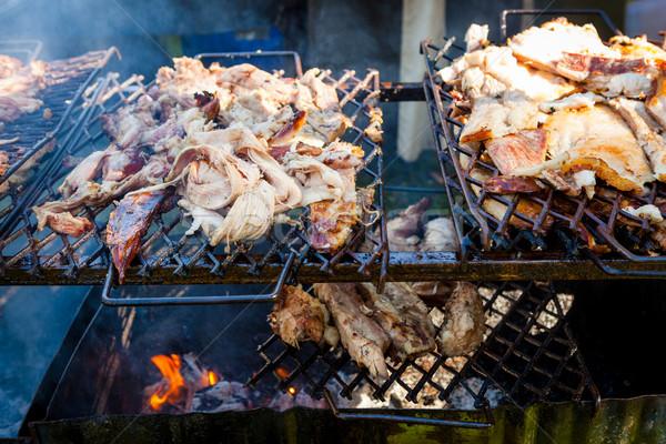свинина мяса гриль открыть огонь улице обеда Сток-фото © Juhku