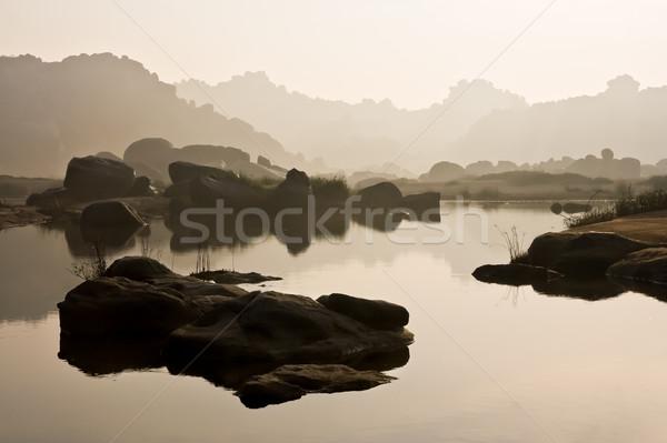 реке пейзаж Индия утра небе путешествия Сток-фото © Juhku