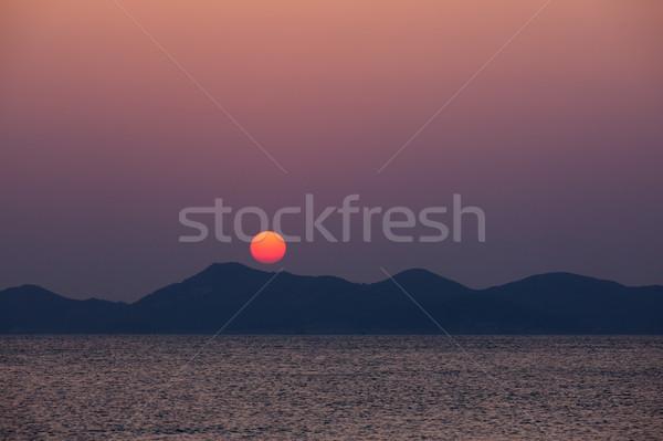 Stock fotó: Naplemente · mögött · domb · természet · tájkép · fény