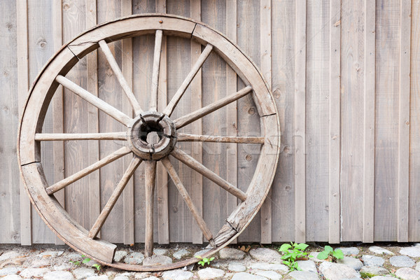 Old cartwheel leaning against wall Stock photo © Juhku
