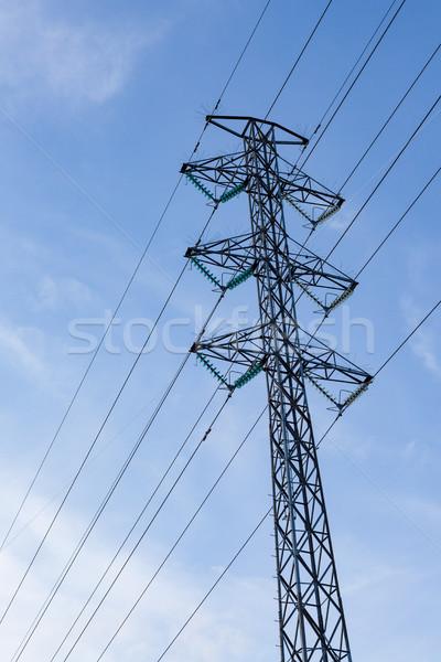 высокое напряжение полюс Blue Sky технологий промышленных энергии Сток-фото © Juhku