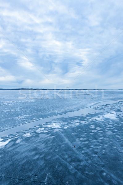Ice melting in lake landscape Stock photo © Juhku
