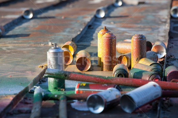 Used spray cans in a roof Stock photo © Juhku