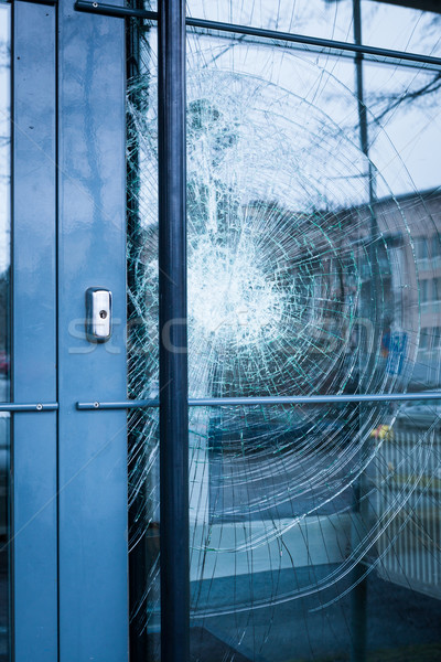Broken glass front door Stock photo © Juhku