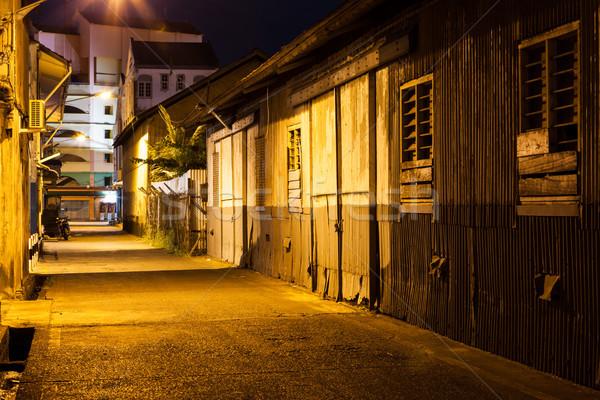 Urban city alley at night Stock photo © Juhku