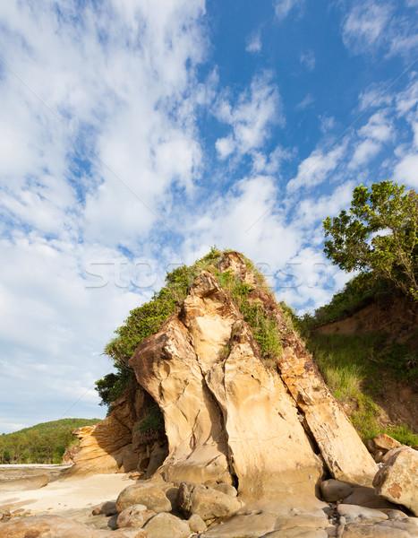 Arenito rocha praia Malásia nuvens Foto stock © Juhku