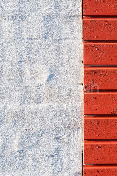Pintado pared rojo textura de madera blanco pared de ladrillo Foto stock © Juhku