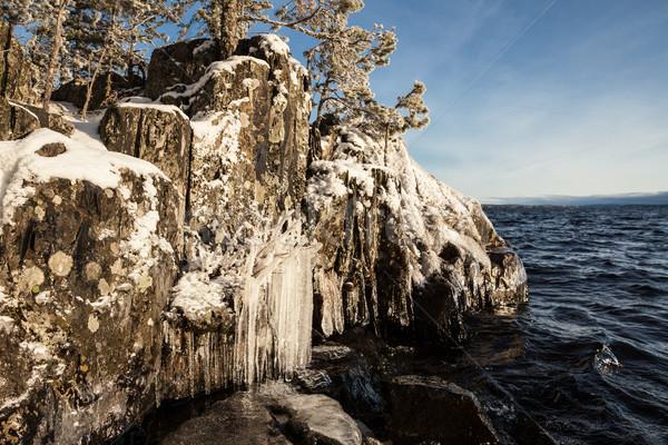 Ice rock lakefront Stock photo © Juhku