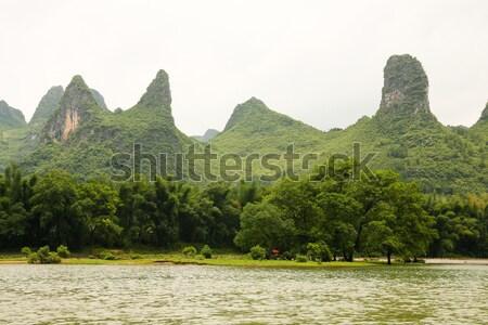 Karst mountain at li river china Stock photo © Juhku