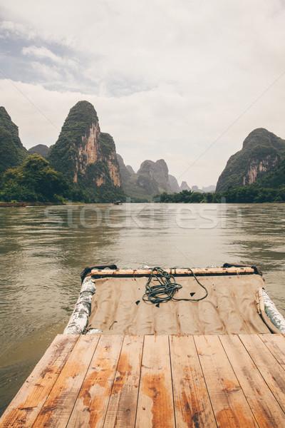 Bambú rafting río China cielo naturaleza Foto stock © Juhku